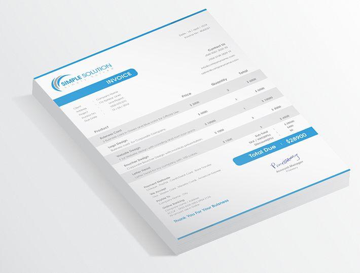 A4 A4 Invoice Black Blue Clean Creative Customizable Excel Excel Invoice Grey Html Html Invoice Illustra Invoice Design Invoice Template Web Design