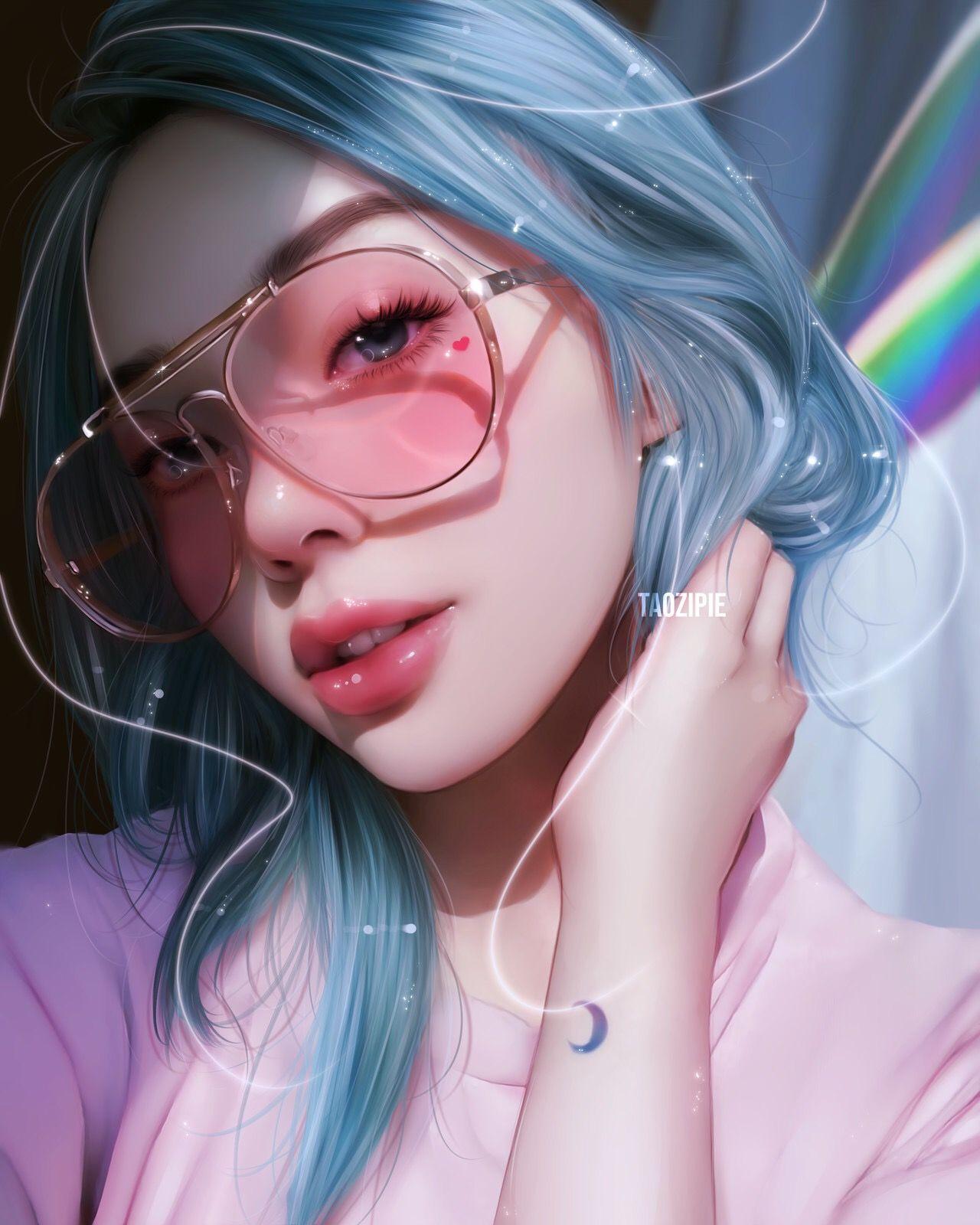 Love And Other Things Visualartzi Digital Art Romance Eyes Character Design Blue Hair Hearts Realis Digital Art Girl How To Draw Hair Digital Portrait Art
