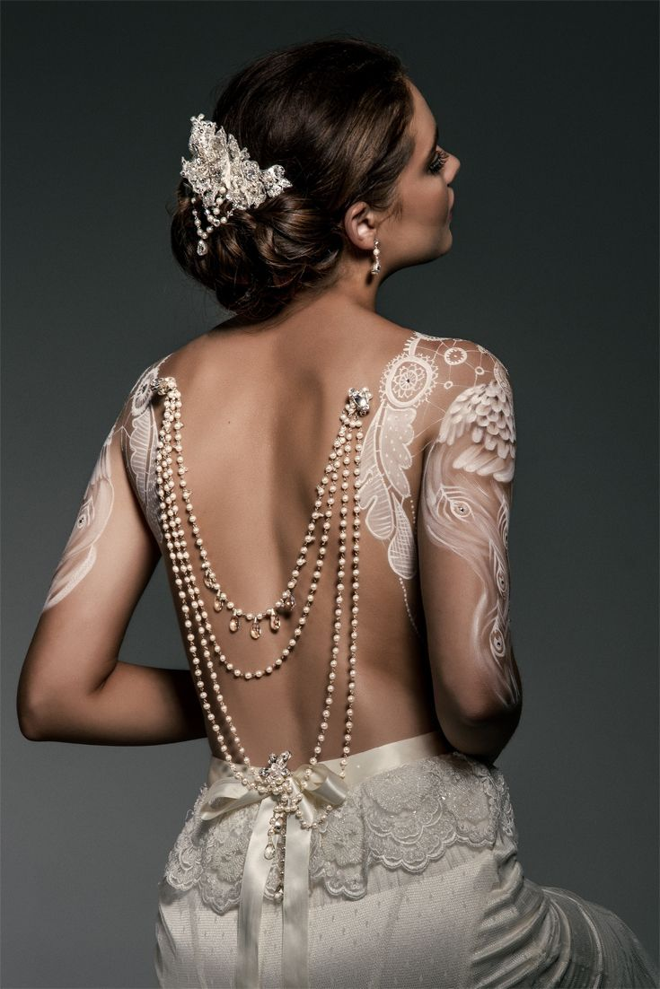 Wedding back jewellery pearl drapes with vintage silver drops