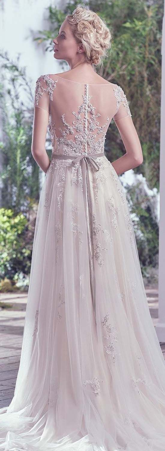 Casual wedding dresses for winter wedding  Short Sleeve Beaded Tulle Wedding Dress   Bridal Collection