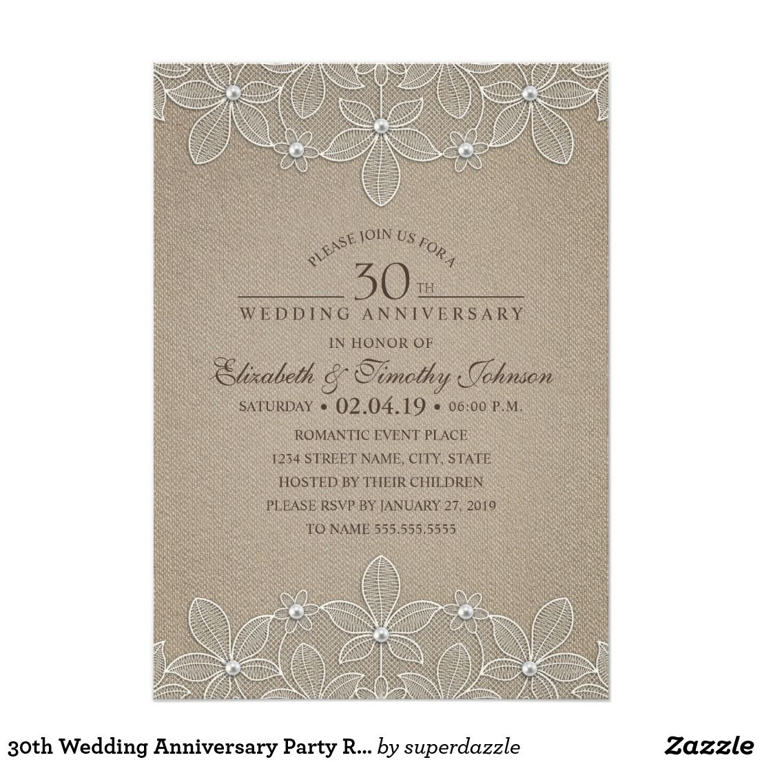 Wedding decorations for reception january 2019 th Wedding Anniversary Party Rustic Pearl Lace Card  Rustic