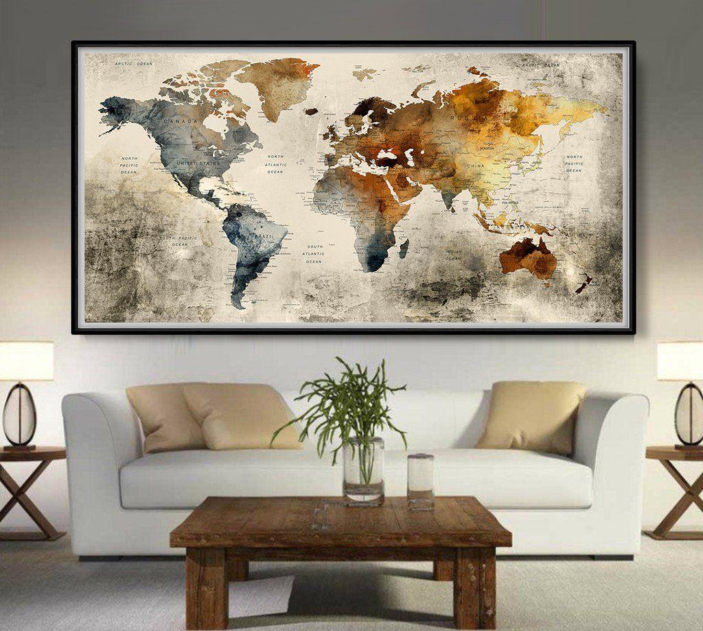 World Map World Map Wall Art World Map Poster Large World Map
