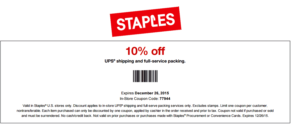 Pinned December 20th: 10% off UPS shipping & packing at #Staples #coupon via The #Coupons App