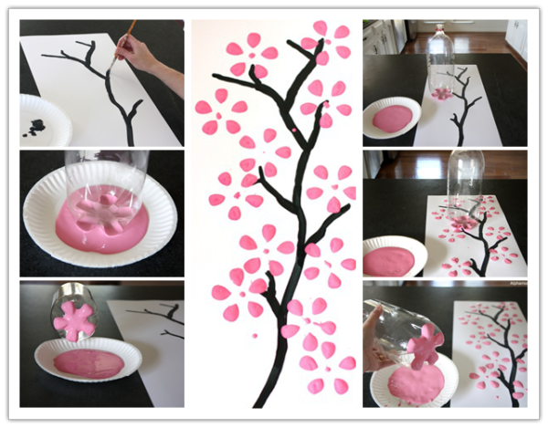 How To Paint Cherry Blossom Canvas Art With Recycled Soda Bottle Diy Tag Diy Canvas Art Easy Art For Kids Canvas Painting Diy