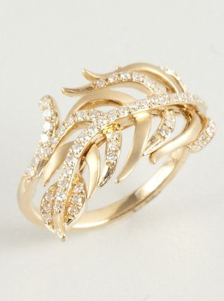 7e22c49c7 diamond and yellow gold Serpiente feather ring   Sparkly things ...