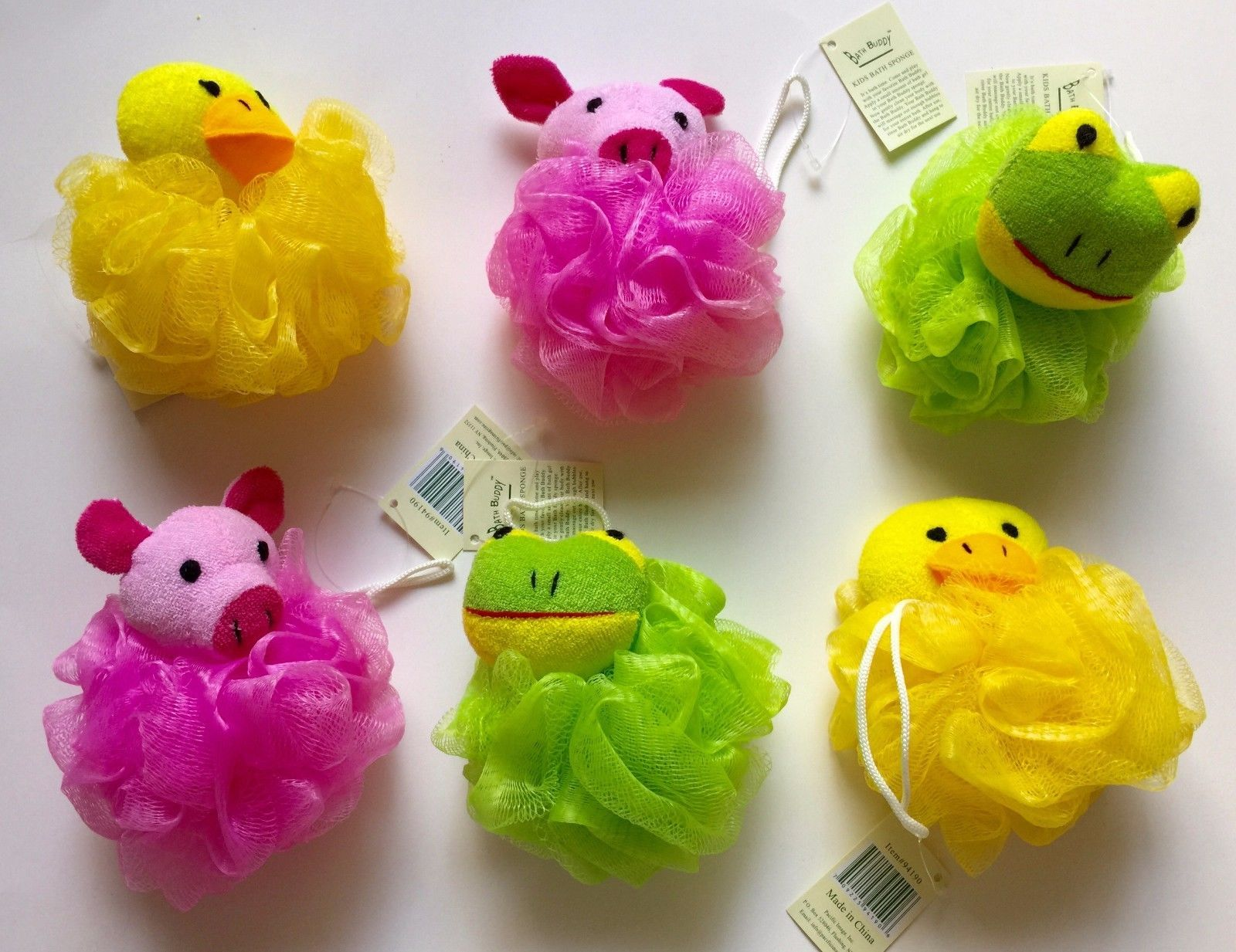 Lot of 6 Kids Toy Pouf Puff Mesh Bath Sponges with Stuffed Animal ...