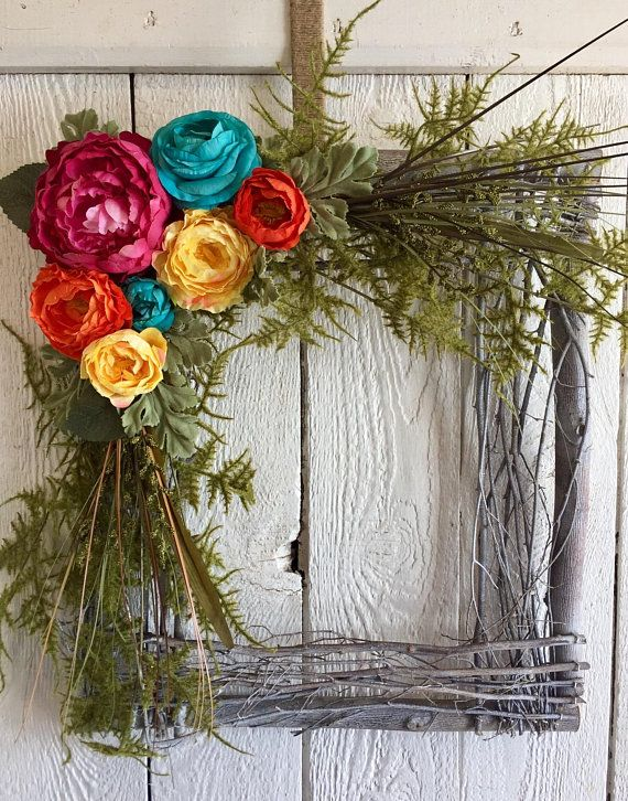 Square Wreath, Large Wreath, Spring Wreath, Summer Wreath, Front Door Wreath ,