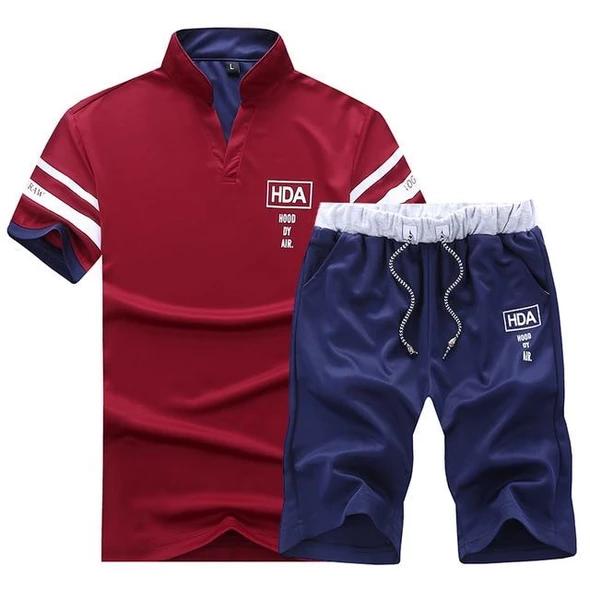 Men Set Summer Tracksuit Short-sleeved T Shirt Shorts Beach Camouflage Suits