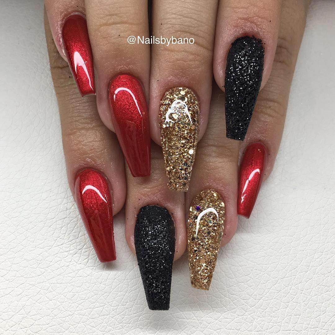 Red Chrome Le Sugar Nails Glitter Black Egenblandat Glitter Acrylicnailart Red Chrome Nails Red Nails Glitter Gold Nails