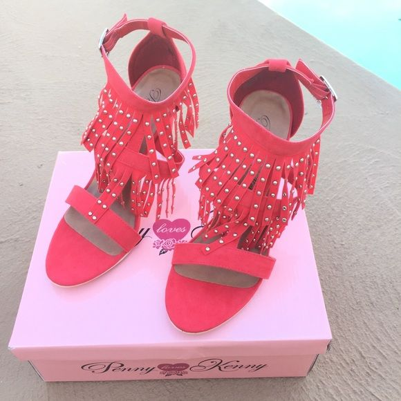 """Penny Loves Kenny Res Fringe Lance Sandal. An ultra chic embellished fringe defines this fashion forward sandal.  It boasts a stiletto heel for leg - elongating height and an adjustable ankle strap for a customized fit.                           3"""" heel and buckle closure Penny Loves Kenny Shoes Sandals"""