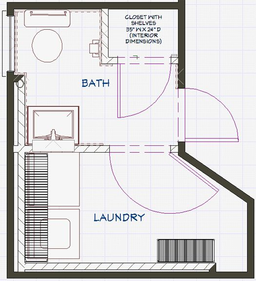 Bathroom and laundry plans at the intersection of art for Laundry bathroom floor plans