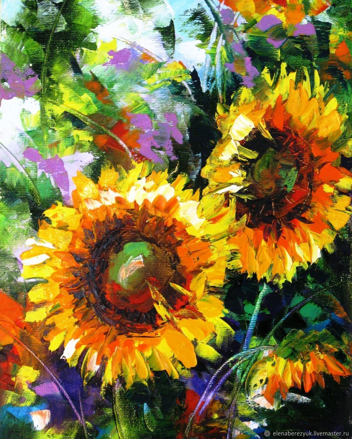 Sunflowers oil painting on canvas sunflowers Flower wall art ...