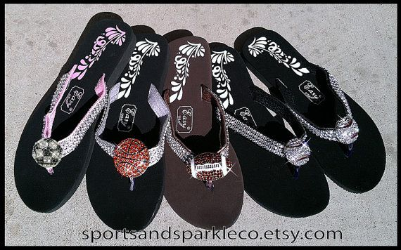 23e01cd50 Sparkly Rhinestone Flip Flops with Sports by SportsandSparkleCo ...