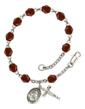 St. Madonna Del Ghisallo Silver-Plated Rosary Bracelet with 6mm Garnet Fire Polished beads