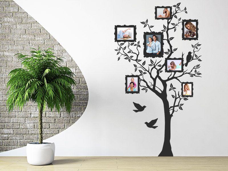 Wandtattoo Foto Baum mit Fotorahmen und Vögel | Foto baum ...