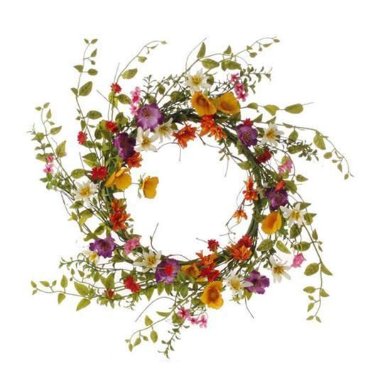 """Wildflower Front DOOR WREATH 17"""" Spring Pink/Yellow NEW SHABBY COUNTRY CHIC"""
