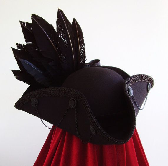 Raven winged Tricorn neo18th century  medieval by Blackpin on Etsy, £95.00