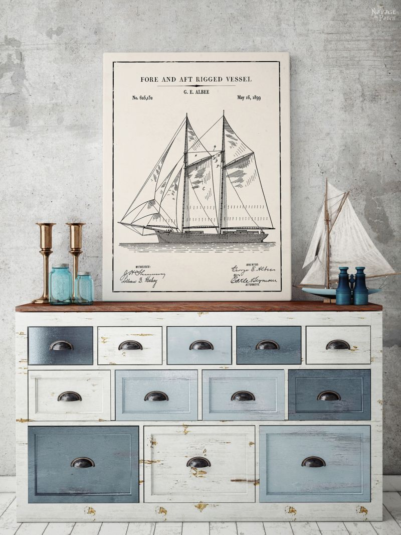 Photo of 12 Free Nautical Wall Art Printables/Vintage Patent Art – The Navage Patch