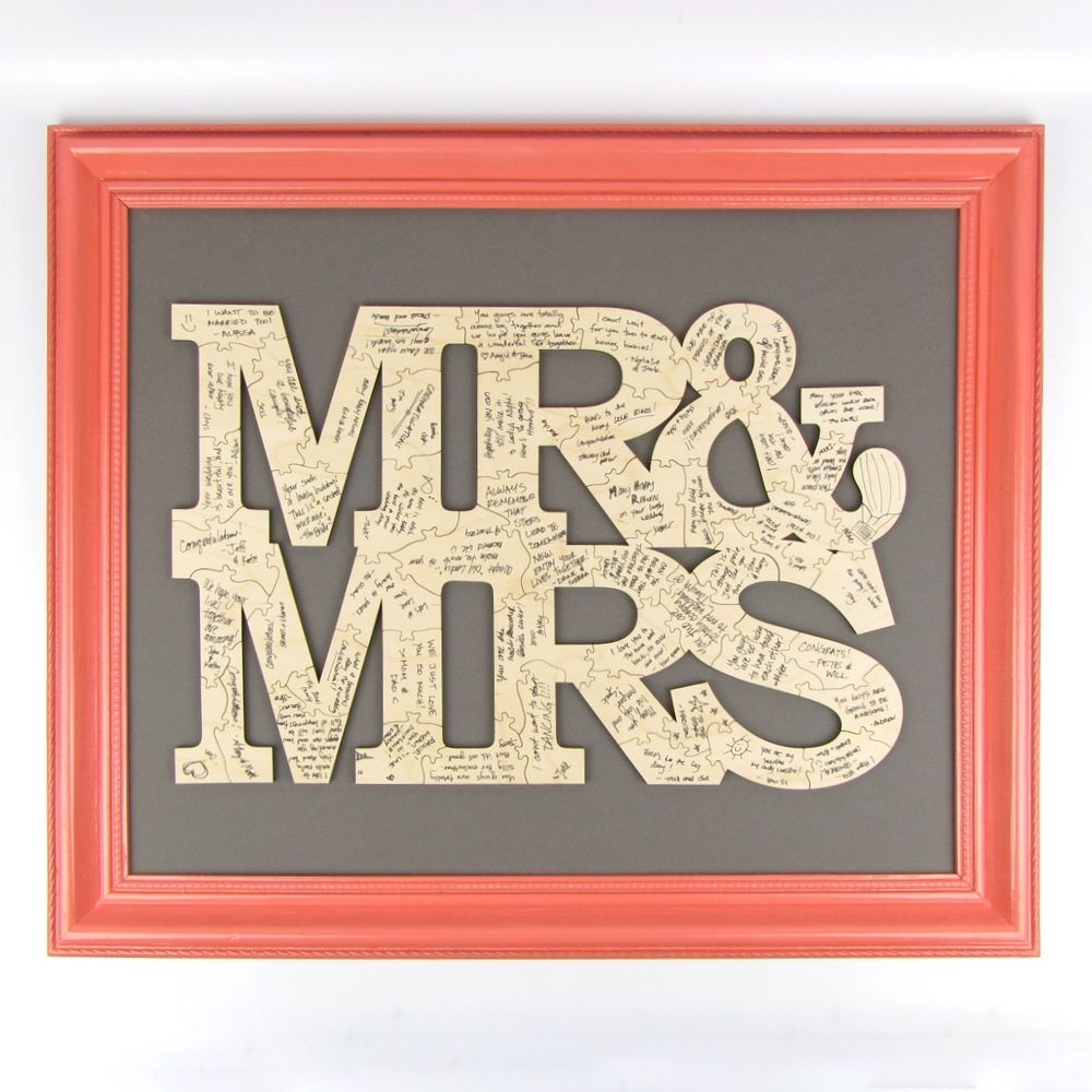 """Alternative Wedding Guest Book Ideas: """"Mr. And Mrs."""" Solid Wood Guest Book Puzzle"""