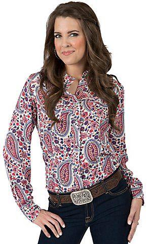 1ed2d144 Rock 47 by Wrangler Women's Pink Blue Floral Paisley Print Long Sleeve  Western Shirt | Cavender's