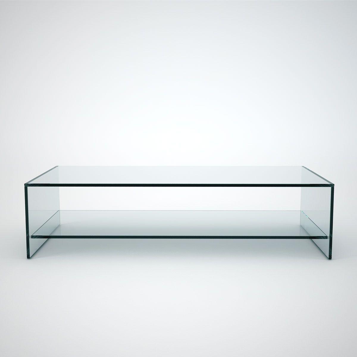 Judd Rectangle Glass Coffee Table With Shelf Rectangle Glass