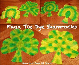 Easy St. Patrick's Day Crafts for Kindergarten:  Faux Tie Dye Shamrocks.  Uses Bingo daubers.