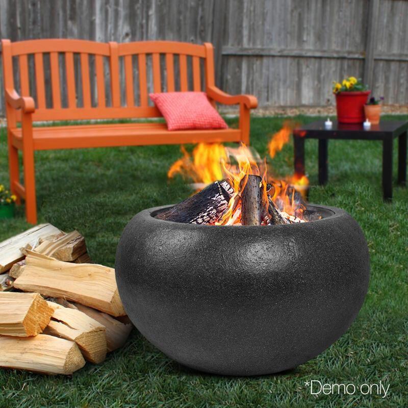 Oval Lightweight Concrete Fire Pit Black 77cm Fire Pits