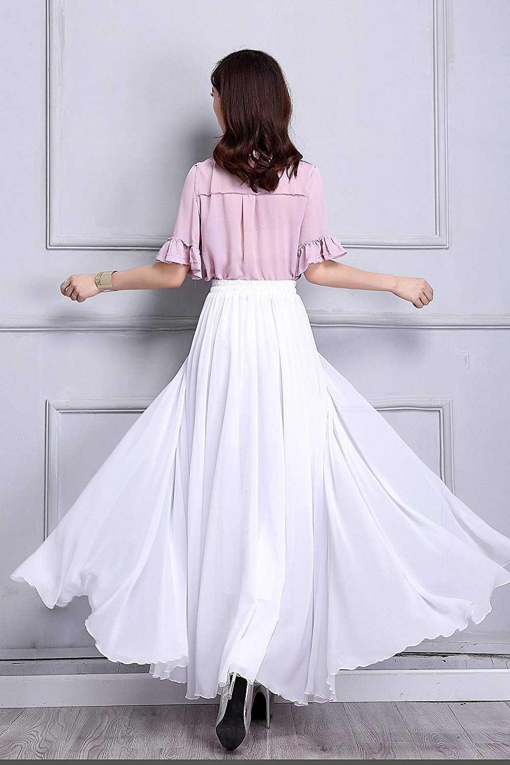 Sissily women summer chiffon high waist pleated big hem fullankle