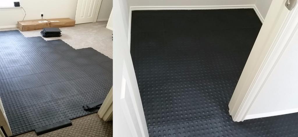 StayLock Corner Black Home gym flooring, Home gym decor