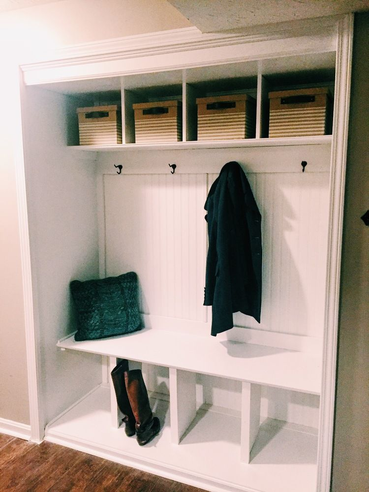 How To Turn A Closet Into A Mudroom Converted Closet Entry Closet Closet Bench