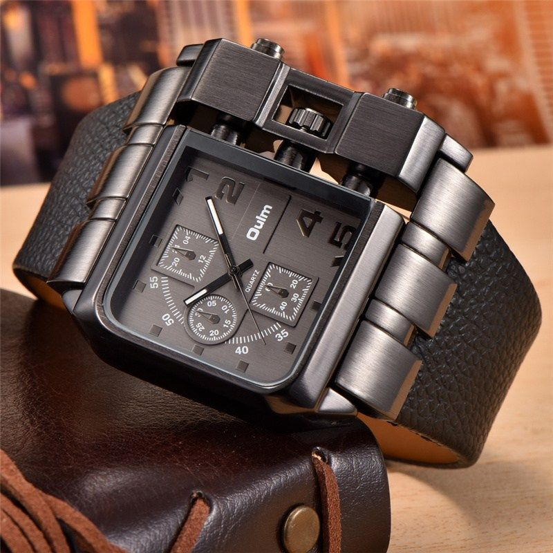 Oulm Brand Square Dial Big Size Watches Men Top Brand Luxury Sport