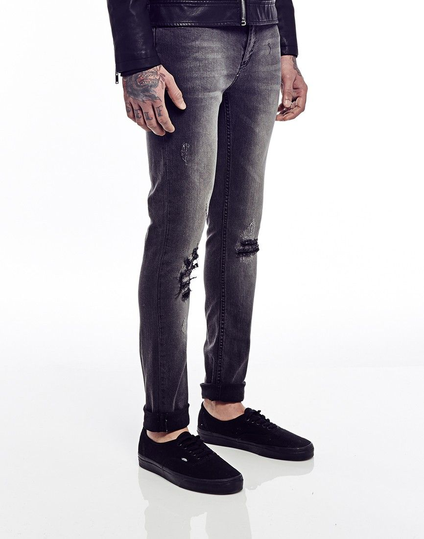 Cheap Monday Tight Jeans Destruction Black in Skinny Fit | Skinny