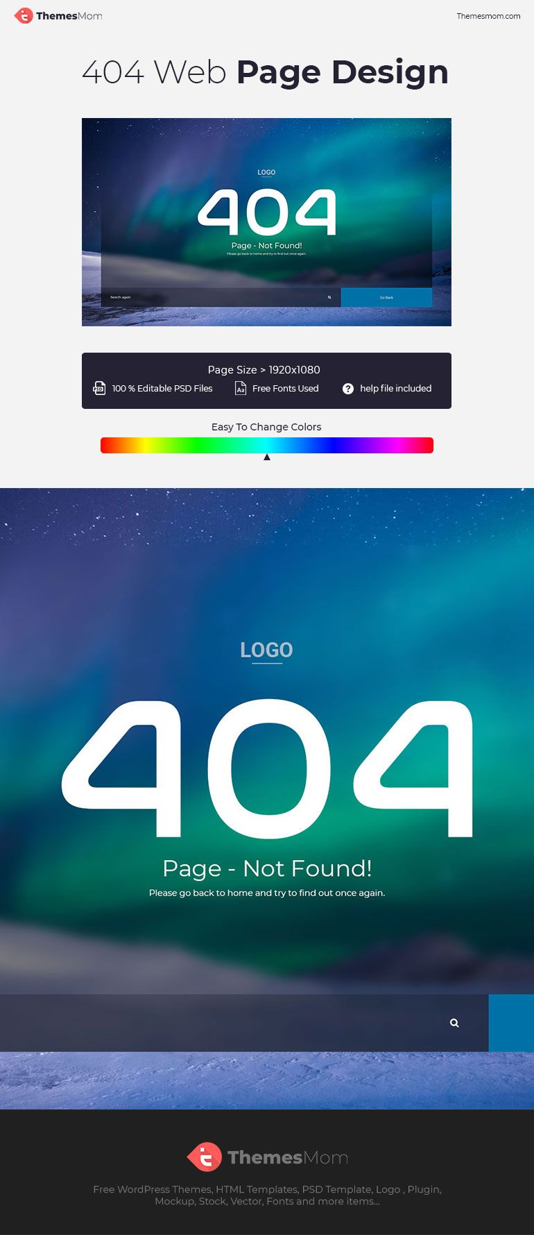404 Page Not Found Psd Template Themesmom Psd Templates Templates Free Graphic Design