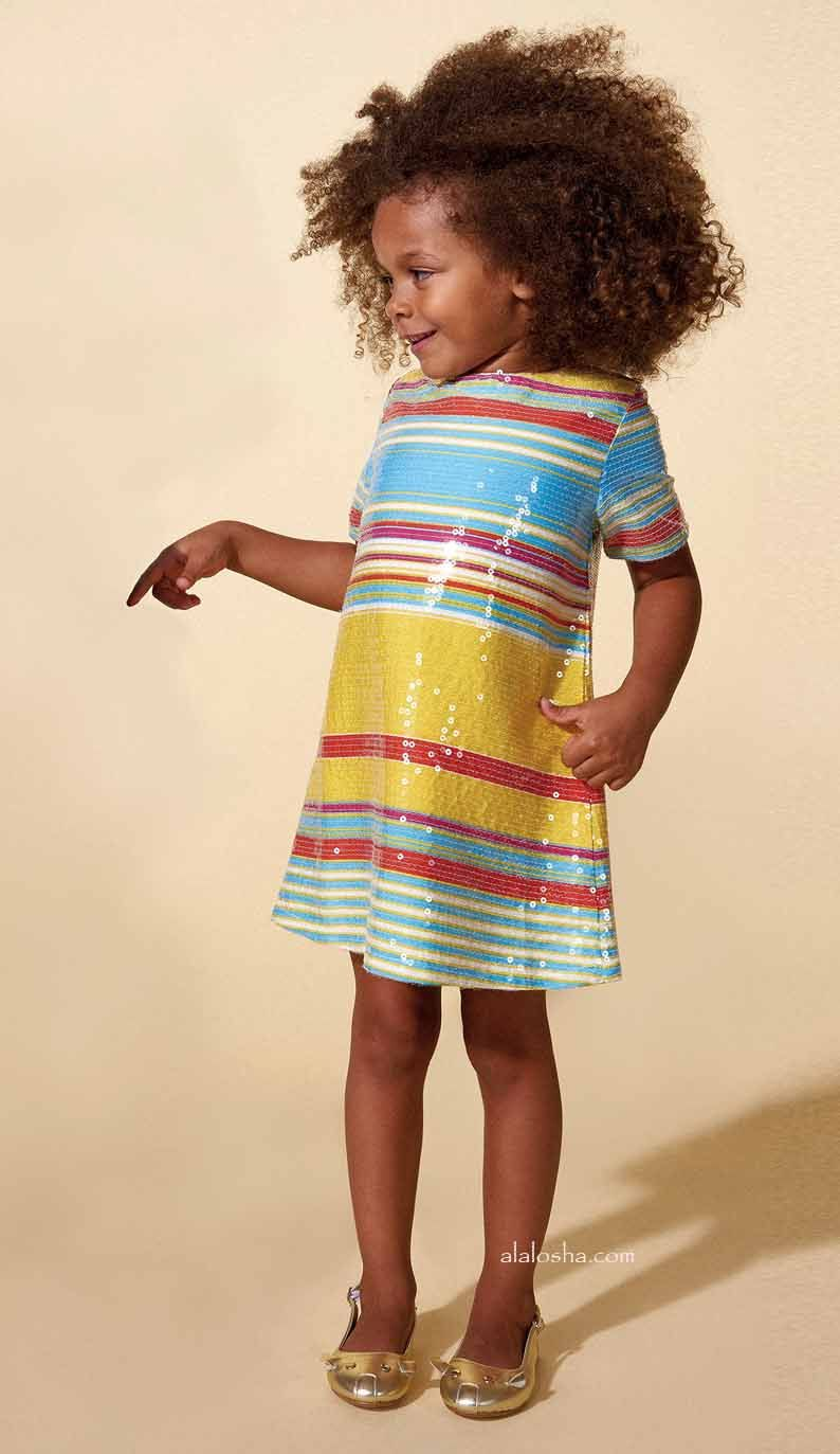 17dcf428 Yellow, Red & Blue Striped Sequin