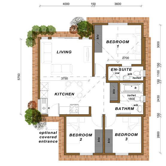Medium 3 Bedroom Home With 2 Bathrooms Option 2 70m2