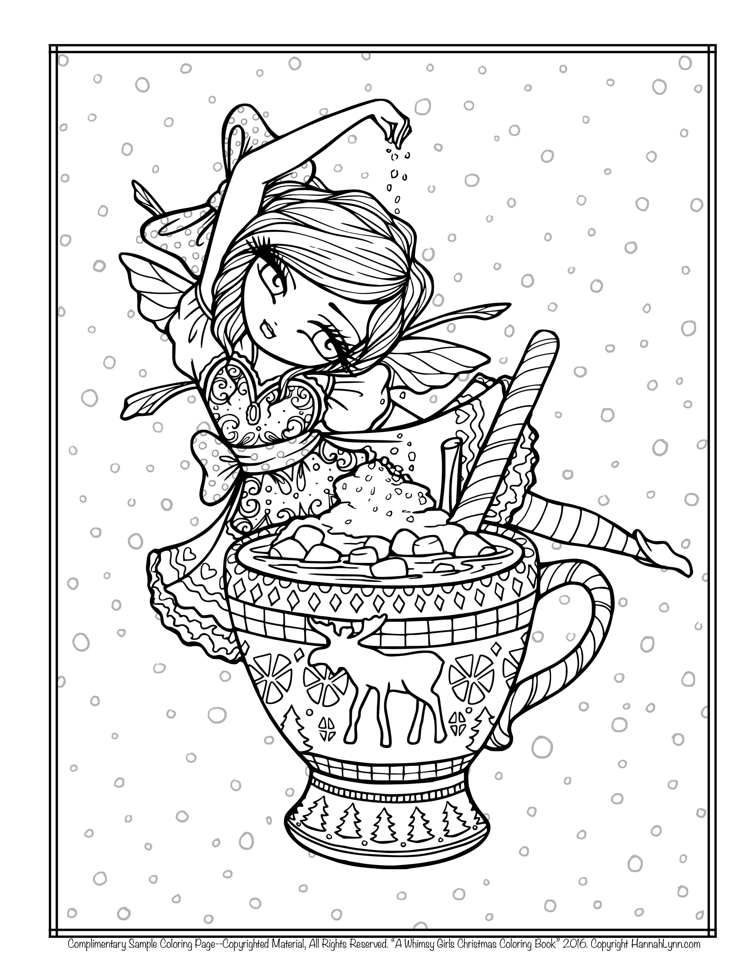 Free Hannah Lynn Coloring Page Hannahlynn Hot Cocoa Fairy Christmas Mug A Whimsy Girls