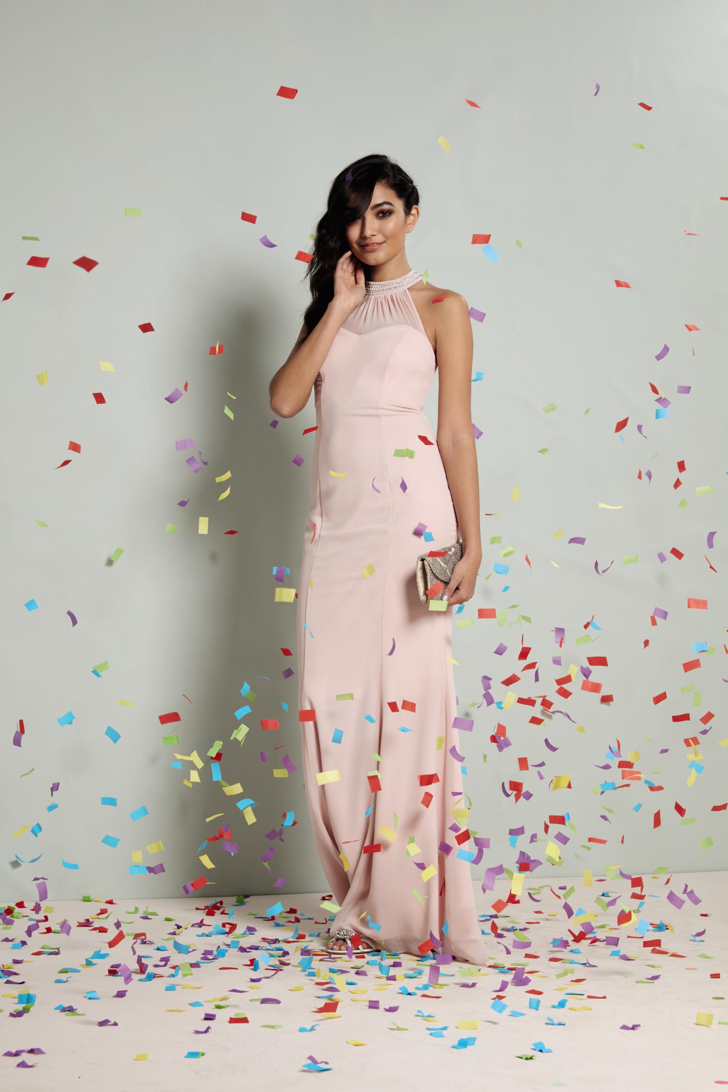 Pastel pink high necked prom dress prom pinterest