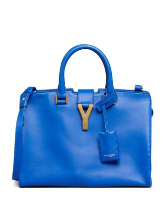 91922620040 Y-Ligne Cabas Mini Leather Bag, Cobalt by Saint Laurent at Neiman Marcus.