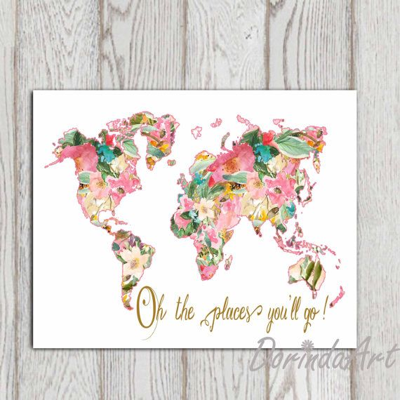 oh the places youll go large floral world map print by dorindaart