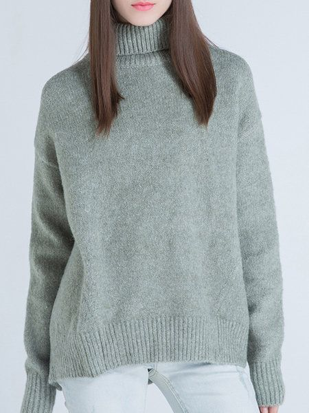Shop Sweaters - Green Casual Wool Blend Sweater online. Discover unique designers fashion at StyleWe.com.