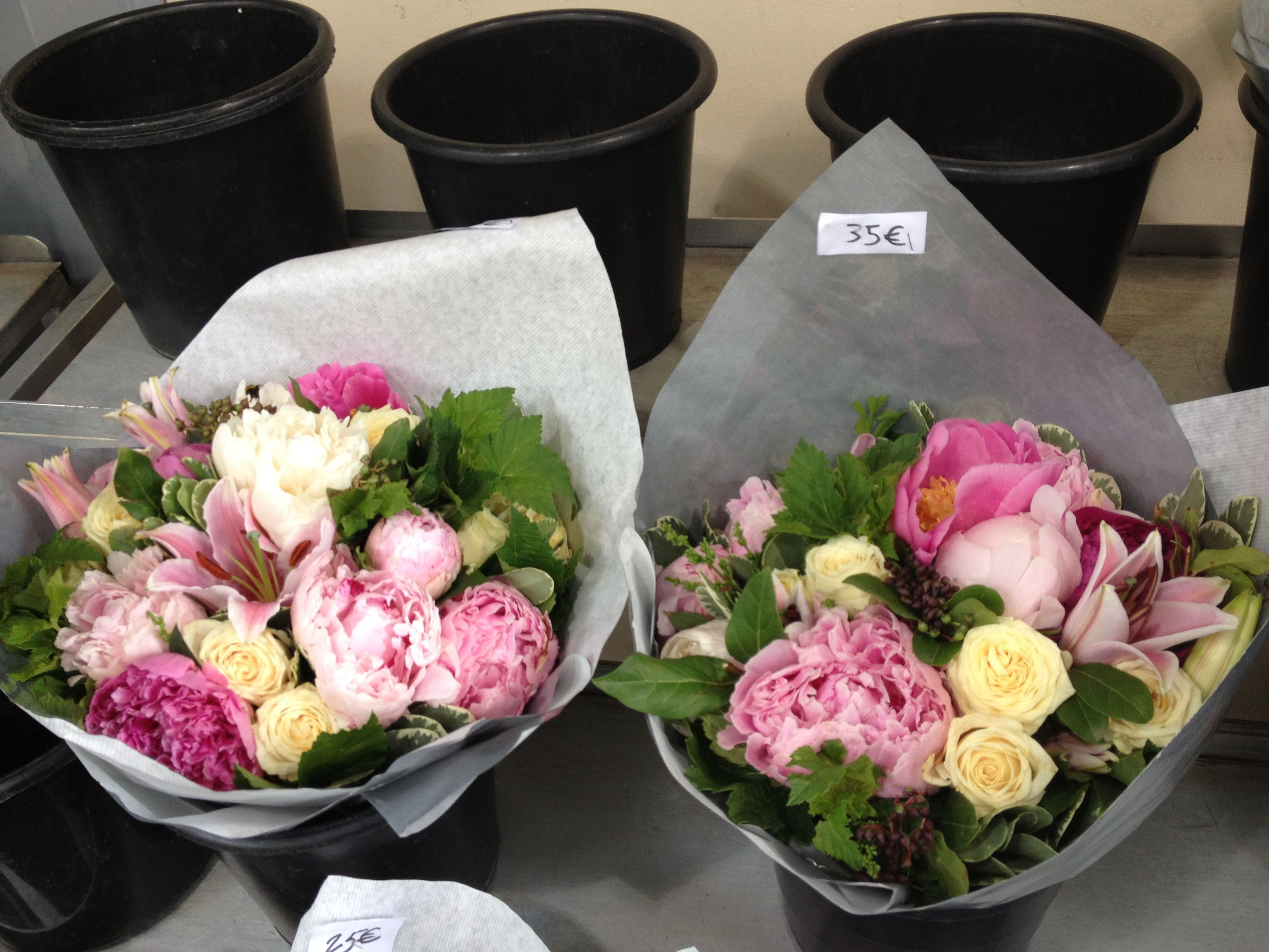 Pretty bouquets for sale in the area around the Champs-Elysees