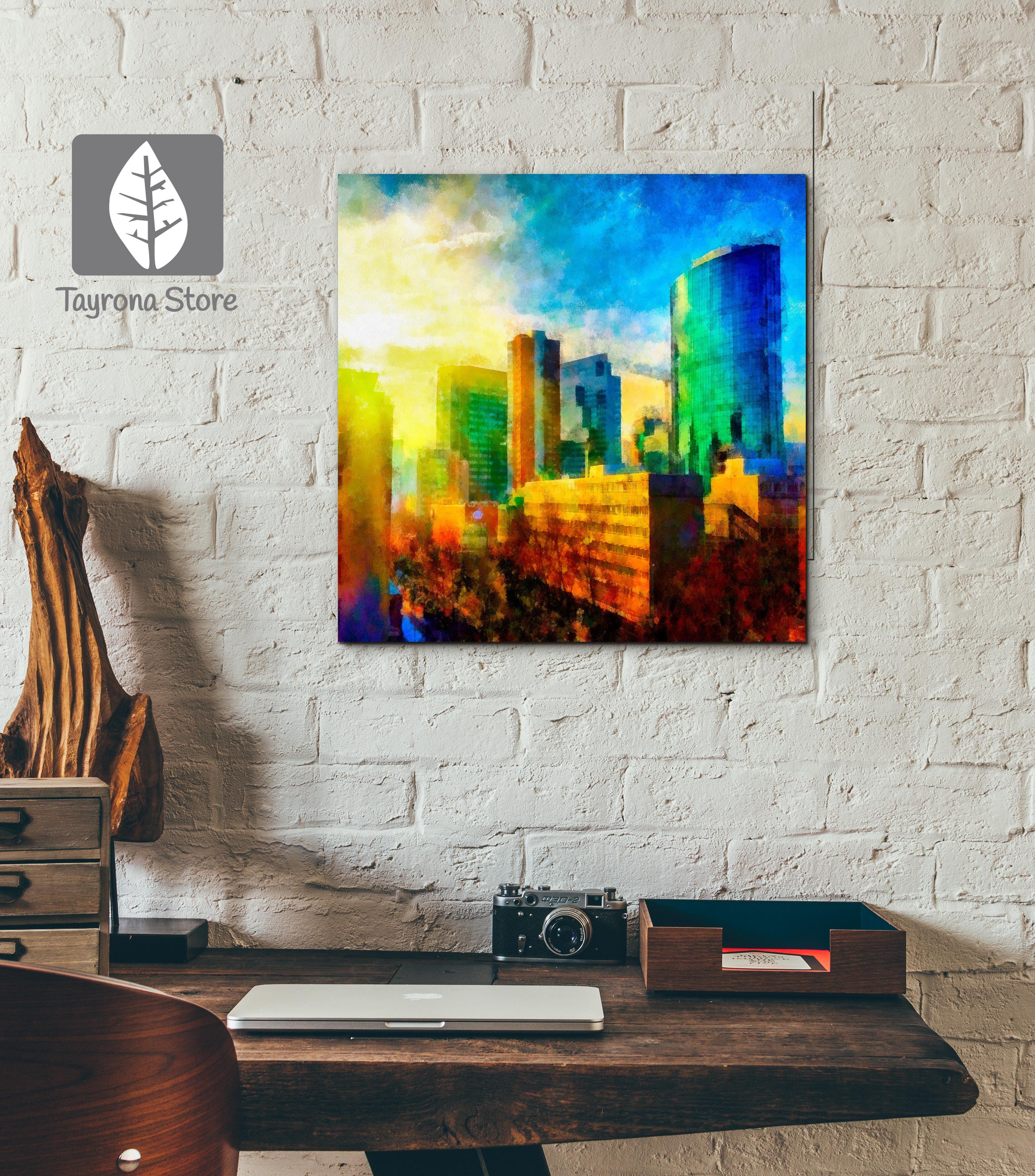Cuadros Decorativos pintura-ciudad #tayronastore,#cuadros ...