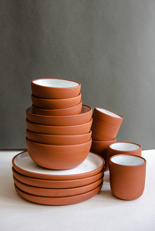 Terracotta Dinner Set Handmade Ceramic Dinnerware Terracotta Bowl And Plates Handmade Tableware Stoneware Dinnerware Rustic Dish Set With Images Handmade Tableware Ceramic Dinnerware Ceramic Dinnerware Set