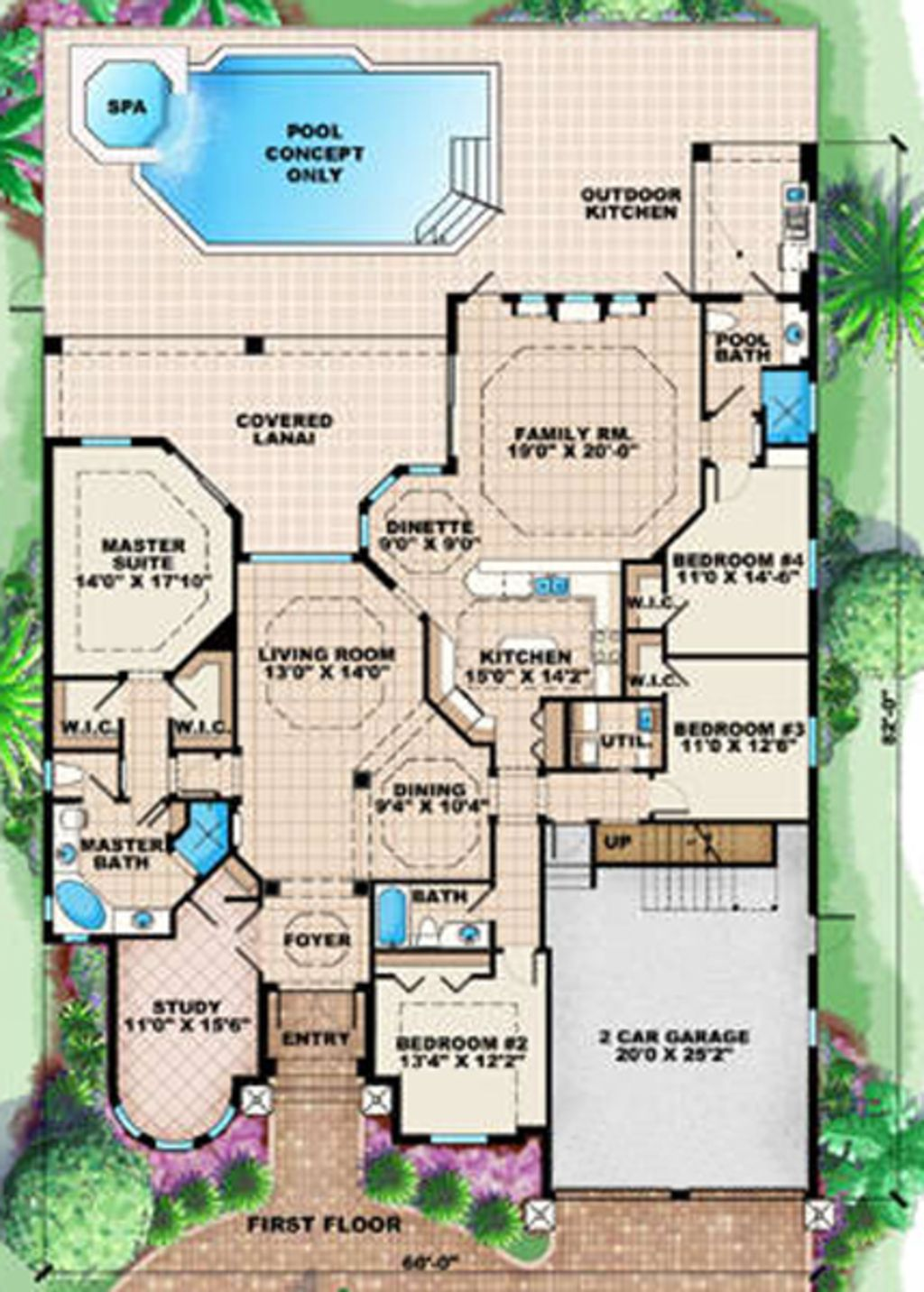 Mediterranean Style House Plan 4 Beds 3 Baths 3145 Sq Ft Plan 27 422 Pool House Plans Mediterranean House Plan Florida House Plans