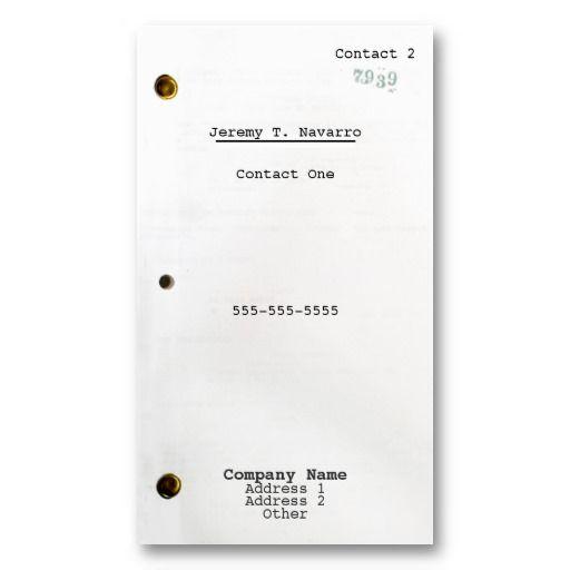 Screenplay Business Card Zazzle Com In 2021 Screenwriting Business Card Texture Business Cards