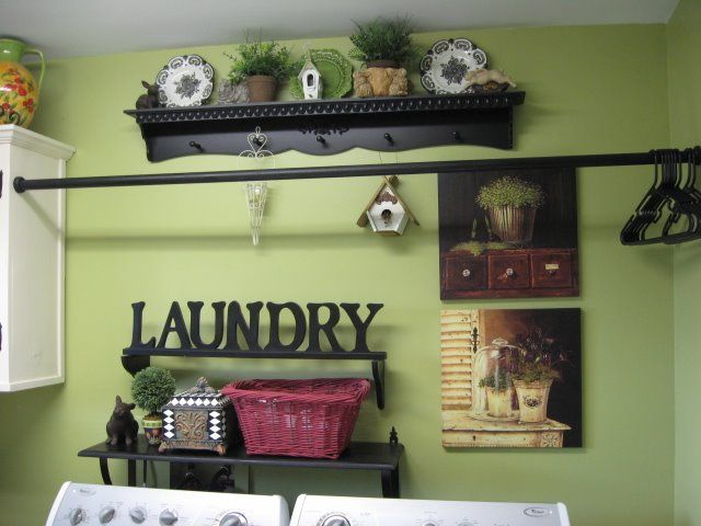 Painted shower curtain rod...Great idea for Laundry room