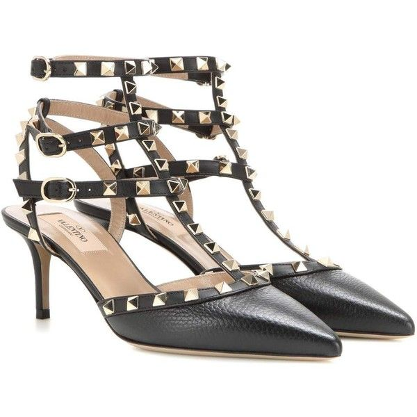 f6fff09249a1 Valentino Rockstud Leather Kitten-Heel Pumps ( 940) ❤ liked on Polyvore  featuring shoes