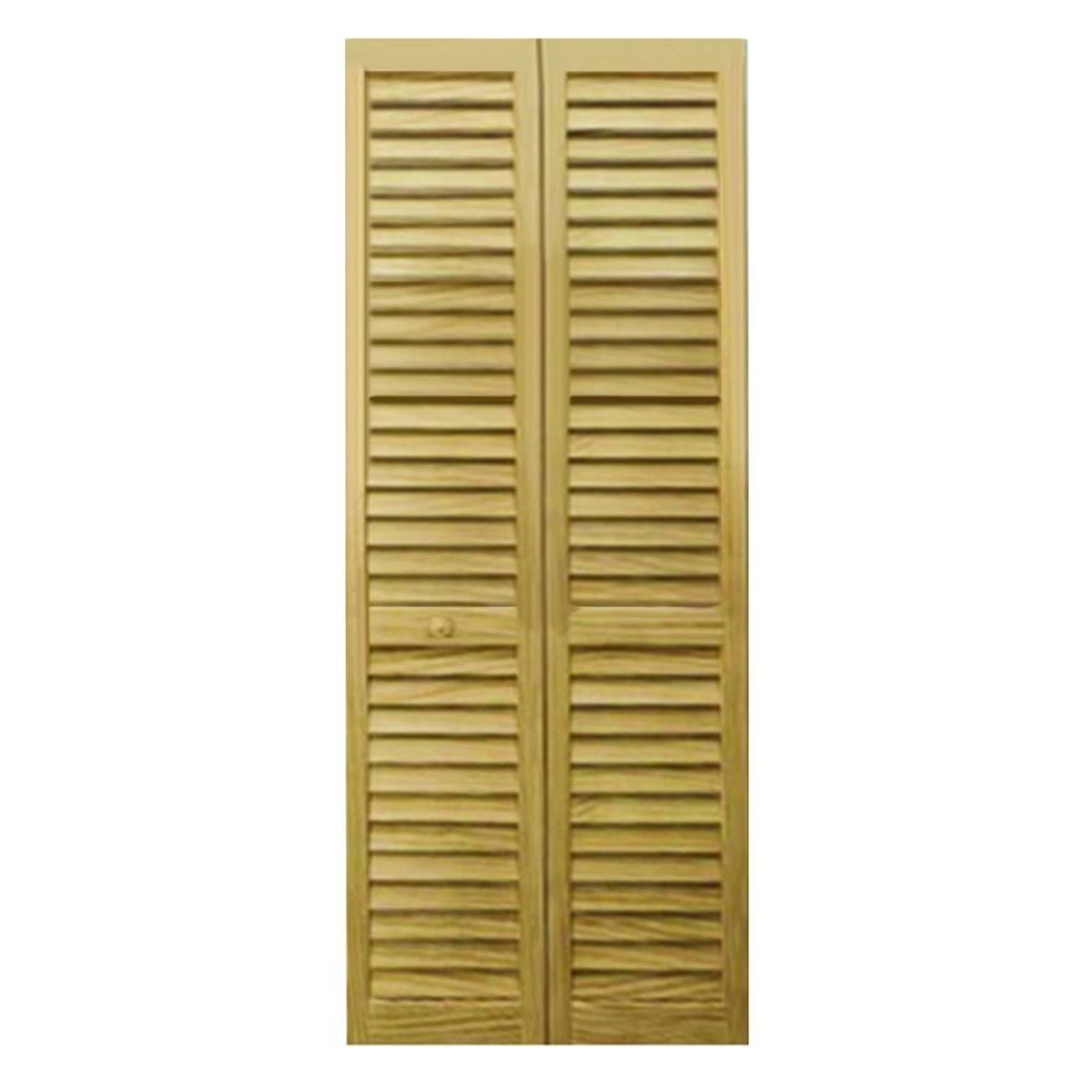 Kimberly Bay 32 in. Plantation Louvered Solid Core Unfinished Wood Interior Closet Bi-fold Door-DPBPLLC32 - The Home Depot