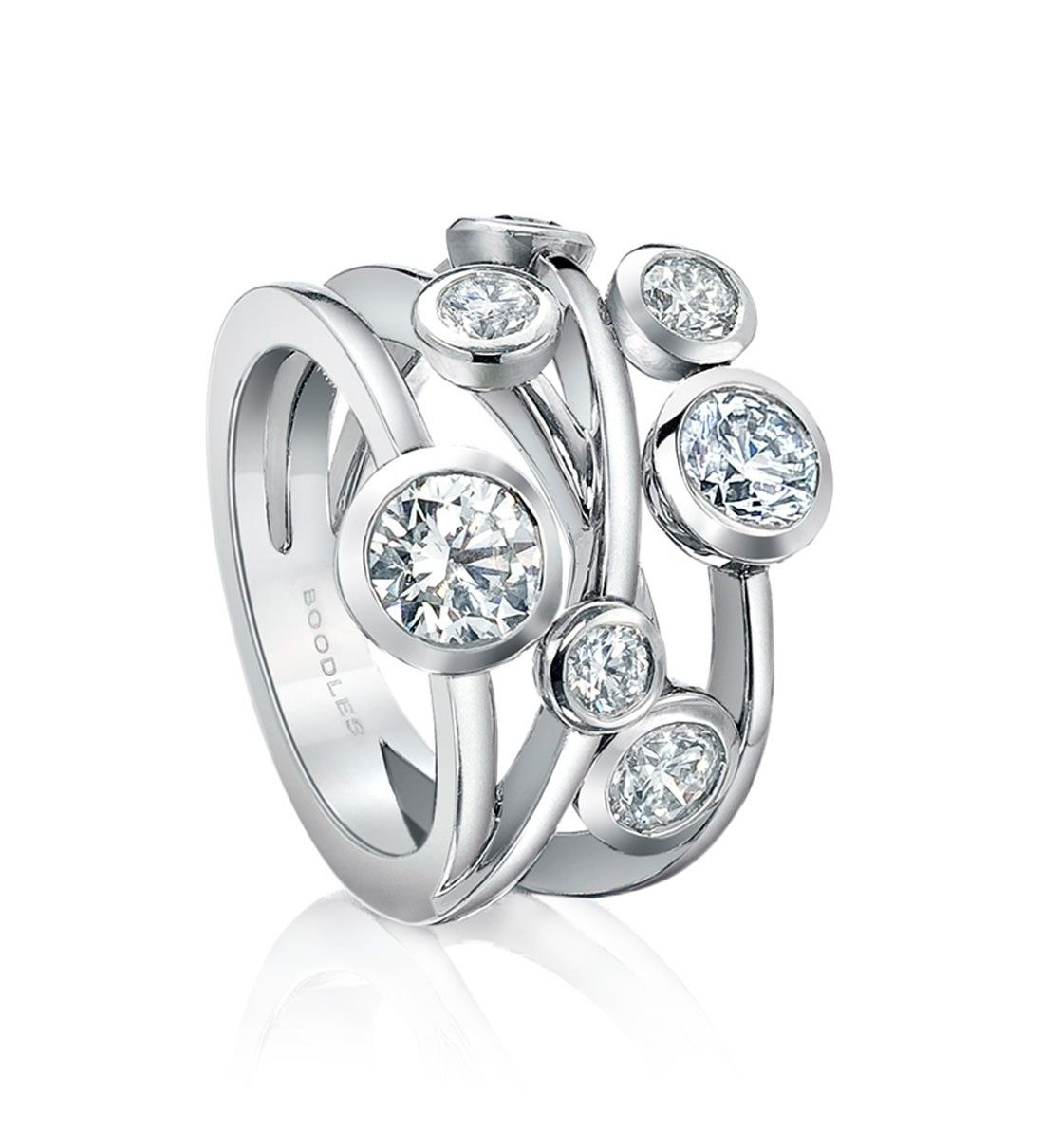 A contemporary diamond ring from boodles 39 raindance for Waterfall design ring