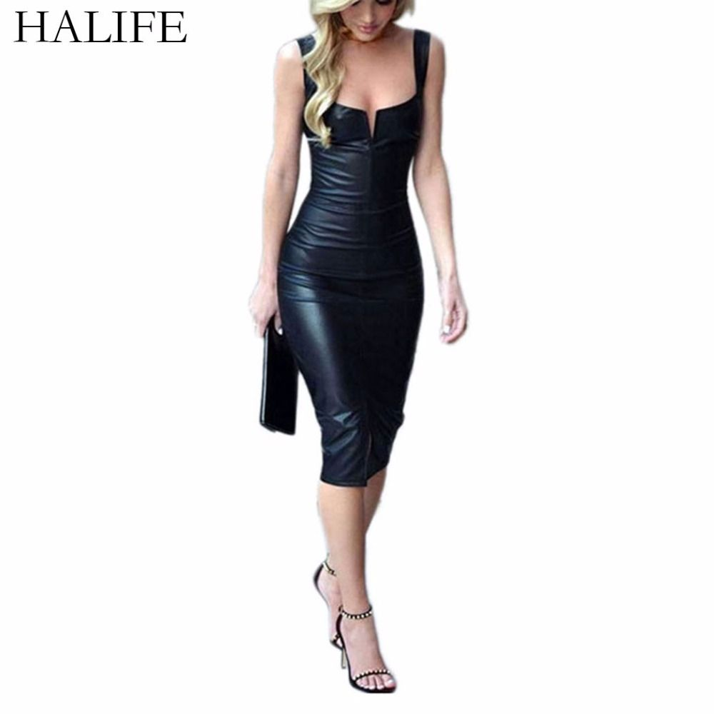 HALIFE Black Synthetic Leather Dress Women Sleeveless Sexy Bodycon Split  Pencil Bandage Dress Club Party Vestido c6e00bd87